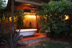 Backyard Bath House at night. Such an easy project and more affordable than a spa or jacuzzi. Outdoor Bathtub, Hot Tub Backyard, Outdoor Bathrooms, Outdoor Rooms, Outdoor Living, Outdoor Showers, Outdoor Planters, Ideas Terraza, Vintage Bathtub