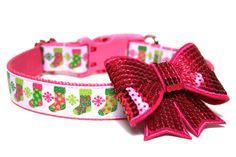 Holiday Dog Collar 1 Christmas Stocking Dog Collar by Wagologie