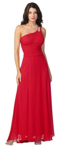 One Shoulder Greek Style Red Evening Dress Long Gown