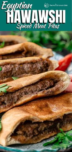 Best recipe and step-by-step tutorial for Egyptian hawawshi! Crispy pita sandwiches stuffed with a tantalizing meat mixture, seasoned with a warm spice mixture, onions, peppers, and fresh herbs. Think of it as Egypt's answer to a hambuger but on steriods! Middle Eastern Dishes, Middle Eastern Recipes, Mediterranean Dishes, Mediterranean Diet Recipes, Lebanese Recipes, Greek Recipes, Armenian Recipes, Egyptian Food, Egyptian Recipes