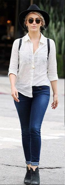 Julianne Hough shopping in L.A. (January 29, 2015), wearing a  Keira Polka Dot Button Down Shirt from Rails and Harrow Suede Ankle Boots from Rag & Bone. #juliannehough #style