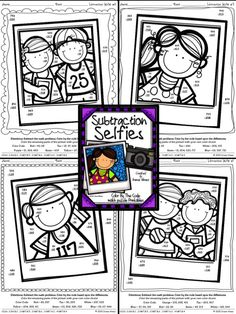 Subtraction Selfies ~ Three Digit Subtraction With Regrouping Color By The Code Puzzle Printables~This Color By Number Unit Is Aligned To The CCSS. Each Page Has The Specific CCSS Listed.~This set includes 4 math puzzles:4 Puzzles with 2 and 3 Digit Subtraction With Regrouping $