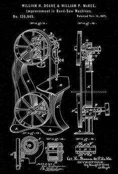 A 10 blueprint art sp pinterest blueprint art art posters and 1871 band saw machine w h doane w p mckee patent art poster malvernweather Image collections