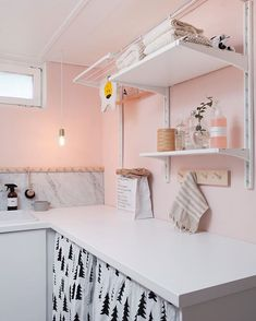 Pink laundry room with green cabinets and floating wood countertop / shelves.Pink laundry room with green cabinets and floating wood countertop / shelves. Pink Laundry Rooms, Laundry Room Colors, Room Paint Colors, Laundry Room Design, Interior Design Living Room, Living Room Designs, Hidden Laundry, Laundry Room Countertop, Laundy Room
