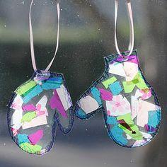 Tissue paper mittens...