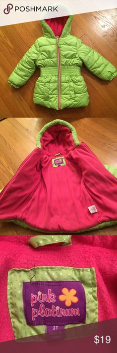 Pink Platinum Puffer Coat, Size 3T Hooded puffer coat in pretty bright green with a bit of shimmer and hot pink lining. Warm and cozy! Gently used. Size 3T. Pink Platinum Jackets & Coats Puffers