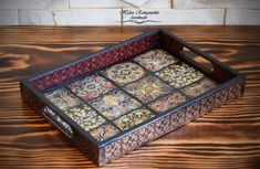 Wood Serving Tray With Handles Personalized coffee table tray Mexican Talavera Tile Style Square decoupage wood salver cheer up gift Serving Trays With Handles, Serving Tray Wood, Mosaic Crafts, Mosaic Art, Decoupage Wood, Decoupage Ideas, Cheer Up Gifts, Coffee Table Tray, Style Tile
