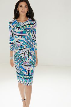 This bold ponte dress will liven up your look with a colorful, art deco-inspired pattern.
