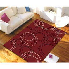 Modern Swirls Rug Red, Black, Off White