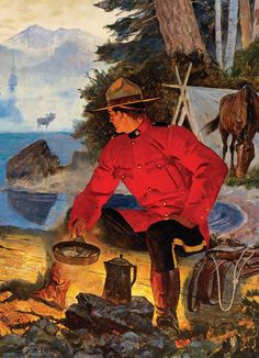 EuroGraphics Puzzles RCMP Morning Campfire. 1000 pieces. Art by Arnold Friberg.
