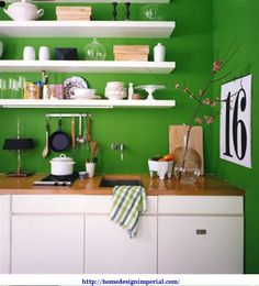 emerald green kitchen walls