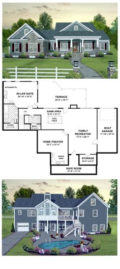 COOL House Plan ID: chp-45369   Follow the steps down to the basement where a whole new world awaits! The family recreation area has a game room with plenty of space for a pool table. Also included is a home theater, safe room & guest suite. #finishedbasement #houseplan