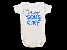 Daddy's Sous Chef Baby Jumpsuit - Gift for Chef, Baby Onesie for Cook, New Dad Baby Onsie, Blue Toddler Tee, Unique Baby Shower Gift for Him