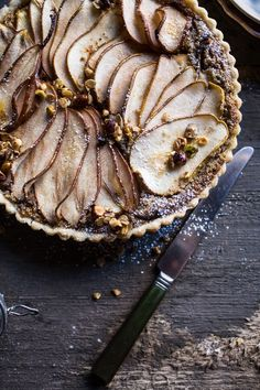 Caramelized Pear and Hazelnut Crumble Tart | HBH