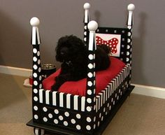 Four Poster Dog Bed made from side table!