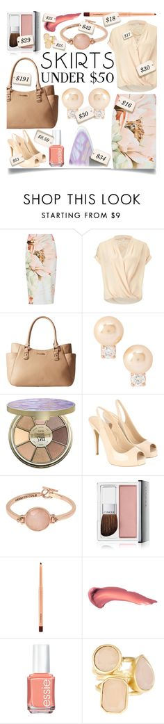 """""""Skirts Under $50"""" by ittie-kittie on Polyvore featuring Miss Selfridge, Calvin Klein, Kate Spade, tarte, Kenneth Cole, Clinique, MAC Cosmetics, Essie, Vince Camuto and under50"""