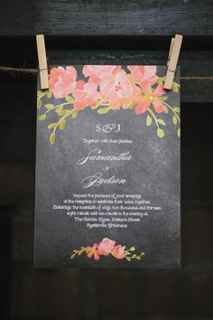 A gorgeous garden invitation-- love the pop of color against the black! {Photo Love Photography}