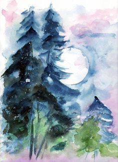 Landscape watercolor trees moon dark bleu pink. Illustration watercolor print on Etsy, $17.11