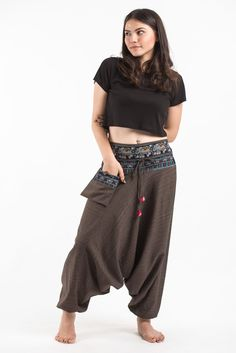 Pinstripe Cotton Low Cut Women's Harem Pants with Elephant Trim in Brown Pinstripe Cotton Low Cut Women's Harem Pants with Elephant Trim in Brown Yoga Pants, Harem Pants, Elephant Pants, Yoga Inspiration, Homecoming Dresses, The Help, Clothes For Women, Brown, Cotton
