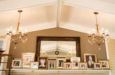 For the initiate wedding. The bride had framed portraits of all the couples in attendance and then placed on the mantle. #Bloomington #wedding Photo by Vow & Forever
