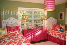 I am in love with this girl room and that hot pink dresser is GORGEOUS! Girls Bedroom, Bedroom Decor, Girls Shared Bedrooms, Pink Dresser, Wicker Dresser, Orange Dresser, Pink Drawers, French Dresser, Wicker Couch