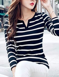 Women's Plus Size / Casual/Daily Simple / Street chic Fashion All Match Spring / Fall T-shirtStriped Round Neck Long Sleeve 5374465 2017 – $12.99