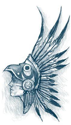 Aztec Warrior Head Drawing Aztec warrior by sam---tan
