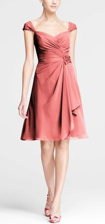 I like this dress! David's Bridal Chiffon Sweetheart Short Dress with Cap Sleeves Style F15406 in Coral Reef