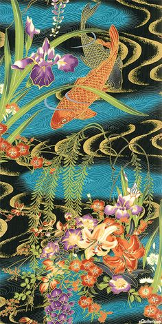 This Hoffman Koi print is totally scrumptious, especially with the massive amount of gold metallic! Love it!