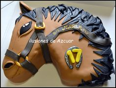 Tarta decorada fondant cabeza de caballo