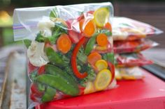 diy stir-fry vegie freezer pkgs - with the needed blanching time for a lg variety of vegetables / blanching time can help with prep of veggie packets for other recipes, too.