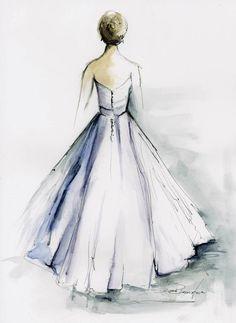Custon Watercolor portrait of wedding dress by Diane Bronstein