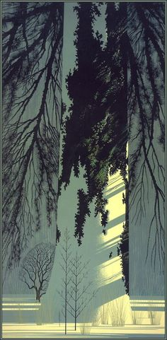 Illustration by Eyvind Earle (b. Land Art, Eyvind Earle, Wow Art, Art Graphique, Tree Art, American Artists, Graphic Art, Art Photography, Night Photography