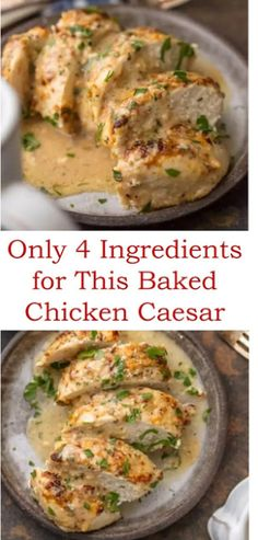 Only 4 Ingredients for This Baked Chicken Caesar Recipe Caesar chicken is a chicken recipe is perfe Baked Chicken Recipes, Meat Recipes, Cooking Recipes, Healthy Recipes, Grilled Chicken, Boneless Chicken, Chicken Caesar Recipe, Turkey Dishes, Baked Chicken Breast