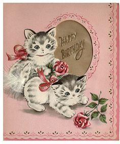 vintage Birthday card kittens