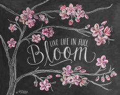 Spring Print Cherry Blossoms Chalk Art Cherry von LilyandVal, $19,00