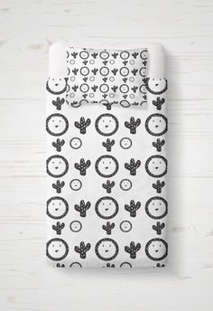 Kids Duvet Cover  Monochrome Toddler Bedding  Baby by tinytweets