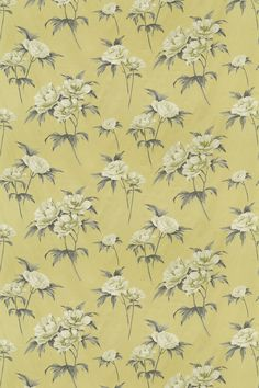Somersby Mimosa (2903/811) - Prestigious Fabrics - A pretty floral Peony design in cream and grey on mimosa yellow. Cotton linen mix. Please request sample for true colour and texture.