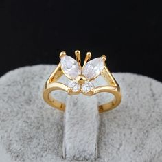 Delicate Butterfly Shape Inlay Zircon 18K Gold Plated Copper Finger Ring Full Sizes