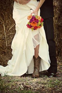 Vintage bride in cowboy boots