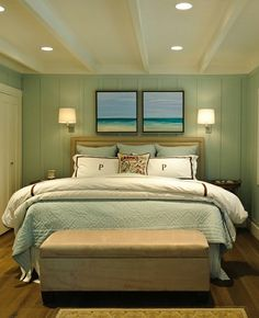 Beach inspired bedroom traditional bedroom by Regan Baker Design (For my Master Bedroom? Bedroom Turquoise, House Of Turquoise, Turquoise Walls, Light Turquoise, Bedroom Themes, Bedroom Decor, Bedroom Designs, Bedroom Ideas, Bedroom Furniture