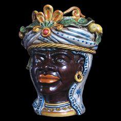 TESTA  MORO  in ceramica www.ceramicheripullo.com Ceramiche Ripullo