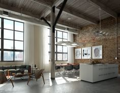 Perserverence Design- cool palette open plan kitchen dining lounge with brick wall and concrete floor