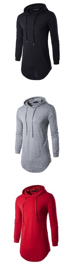 Men's Sports Casual/Daily Hoodie Solid Hooded Micro-elastic Cotton Long Sleeve Spring Fall Winter