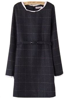 Grey Long Sleeve Plaid Belt Woolen Dress - abaday.com