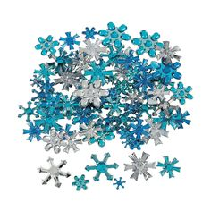 I'm going to hot glue gun these to everything - Snowflake Jewel Assortment - OrientalTrading.com