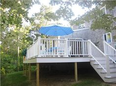 Deck and yard in a South Yarmouth vacation rental Mid Cape Cod