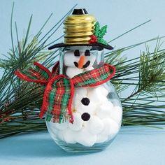 Snowman Christmas ornament made from a lightbulb