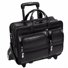 McKleinUSA CLINTON 88445 Black 17 Detachable-Wheeled Laptop Case Exclusive to McKleinUSA! Patented 2-in-1 Detachable Wheel and Handle System. Two front organizers pockets for media devices, cell phone, business cards, key chain holder and pens. Front zipper pocket provides for small miscellaneous items  Front compartment with accordion files for all your document needs. Back compartment padded to ... #McKleinUSA #PersonalComputer