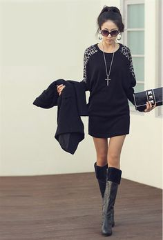 $12.14 Women's Leopard Print Sleeves Shirt Black on BuyTrends.com